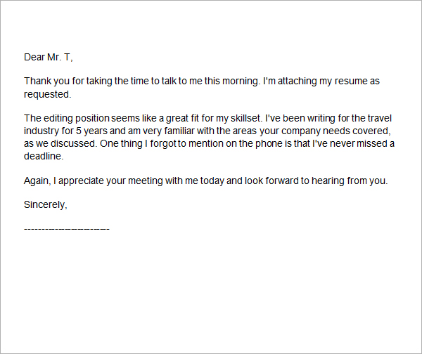 Thank You Letter After Interview Email Samples